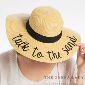 """""""Take to the Sand"""" Embroidery Straw Floppy Sun Hat"""